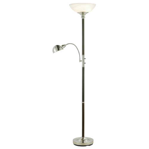 Adesso Home Lighting Modern Floor Lamp with Alabaster Glass in Walnut Finish 4052-15