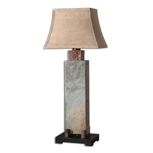 Uttermost Lighting Table Lamp in Handcarved Slate / Hammered Copper Finish 26308