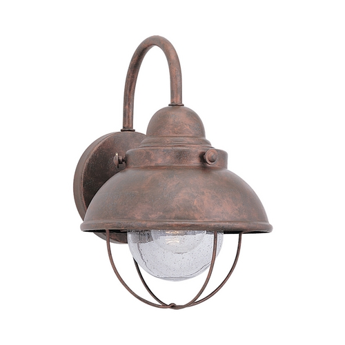 Sea Gull Lighting Outdoor Wall Light with Clear Glass in Weathered Copper Finish 8870-44