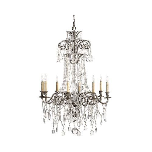 Currey and Company Lighting Crystal Chandelier in Viejo Silver Leaf Finish 9051