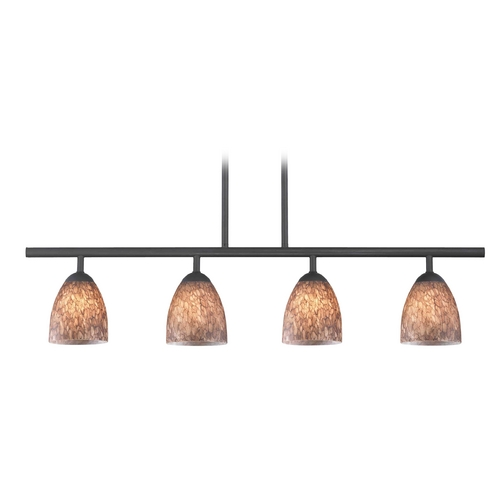 Design Classics Lighting Modern Island Light with Brown Glass in Matte Black Finish 718-07 GL1016MB