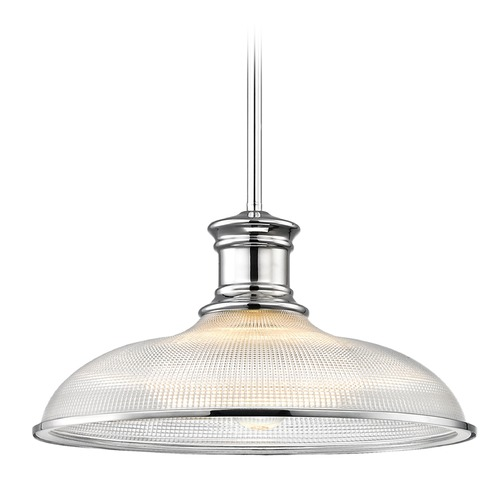 Design Classics Lighting Nautical Prismatic Pendant Light Chrome 14.38-Inch Wide 1761-26 G1781-FC R1781-26