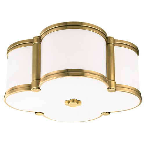 Hudson Valley Lighting Chandler 2 Light Flushmount Light Clover Shaped Glass - Aged Brass 1212-AGB