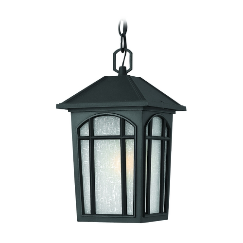 Hinkley Lighting Outdoor Hanging Light with White Glass in Black Finish 1982BK
