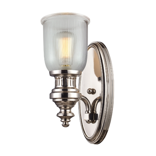 Elk Lighting Sconce Wall Light with Clear Glass in Polished Nickel Finish 66780-1