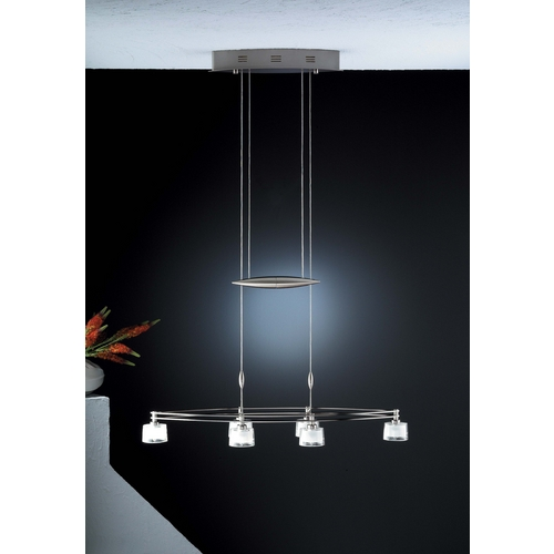 Holtkoetter Lighting Holtkoetter Modern Low Voltage Drum Pendant Light with White Glass in Satin Nickel Finish 5506 SN G5010