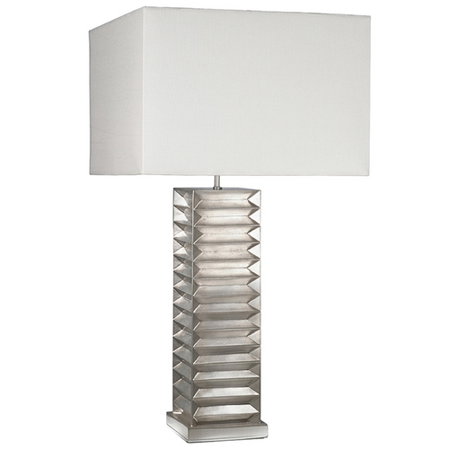 Fine Art Lamps Fine Art Lamps Recollections Platinized Silver Leaf Table Lamp with Rectangle Shade 847810ST