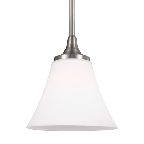 Feiss Lighting Feiss Lighting Hamlet Satin Nickel Mini-Pendant Light with Bell Shade P1413SN