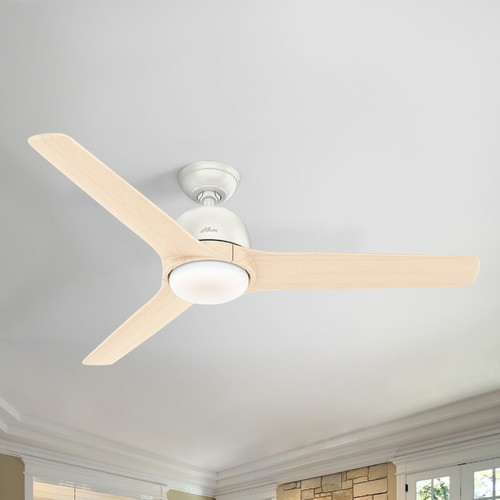 Hunter Fan Company Hunter 54-Inch Fresh White LED Ceiling Fan with Light with Hand-Held Remote 59423