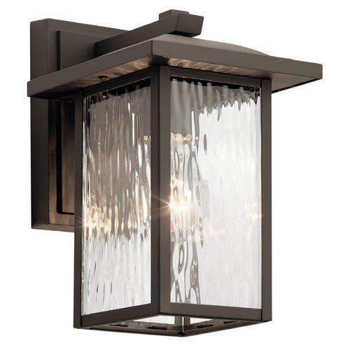 Kichler Lighting Capanna Small Olde Bronze Outdoor Wall Light with Clear Water Glass 49924OZ