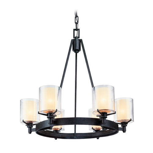 Troy Lighting Chandelier with Clear Glass in French Iron Finish F1716FR