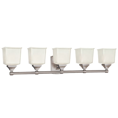Hudson Valley Lighting Modern Bathroom Light with White Glass in Satin Nickel Finish 2245-SN