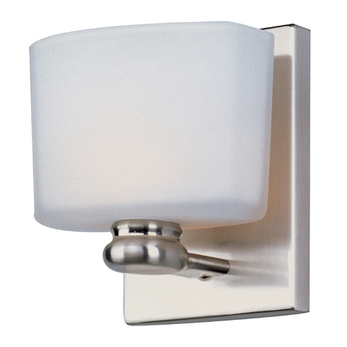 Maxim Lighting Modern Sconce with White Glass in Satin Nickel Finish 9001SWSN