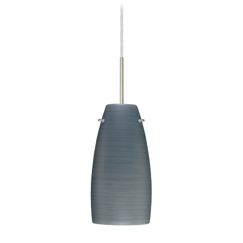Besa Lighting Modern Pendant Light with Grey Glass in Satin Nickel Finish 1JT-1512TN-SN