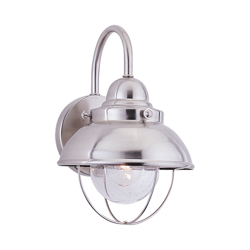 Sea Gull Lighting Outdoor Wall Light with Clear Glass in Brushed Stainless Finish 8870-98