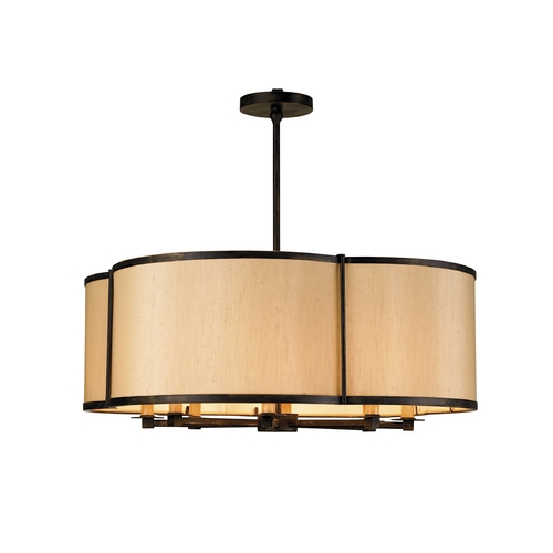 Currey and Company Lighting Modern Drum Pendant Lights in French Black Finish 9050