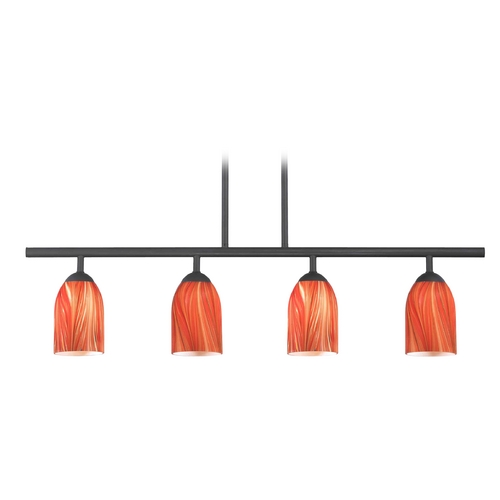 Design Classics Lighting Modern Island Light with Red Glass in Matte Black Finish 718-07 GL1017D
