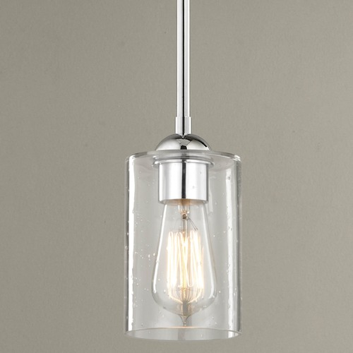 Design Classics Lighting Design Classics Gala Fuse Chrome Mini-Pendant Light with Cylindrical Shade 581-26 GL1041C