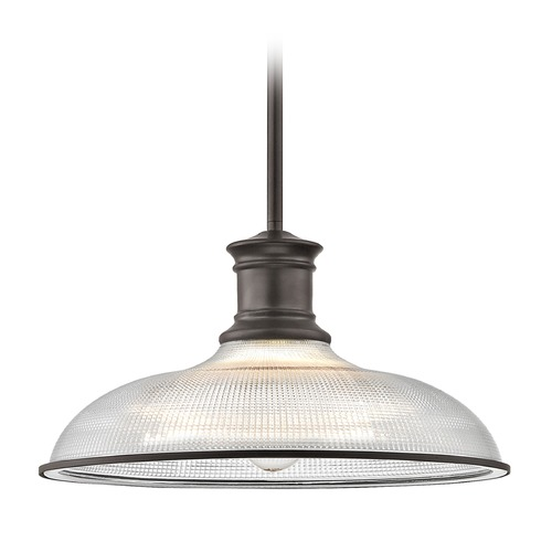 Design Classics Lighting Industrial Bronze Pendant Light Prismatic Glass 14.38-Inch Wide 1761-220 G1781-FC R1781-220