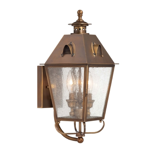 Minka Lighting Outdoor Wall Light with Clear Glass in English Brass Finish 72422-212