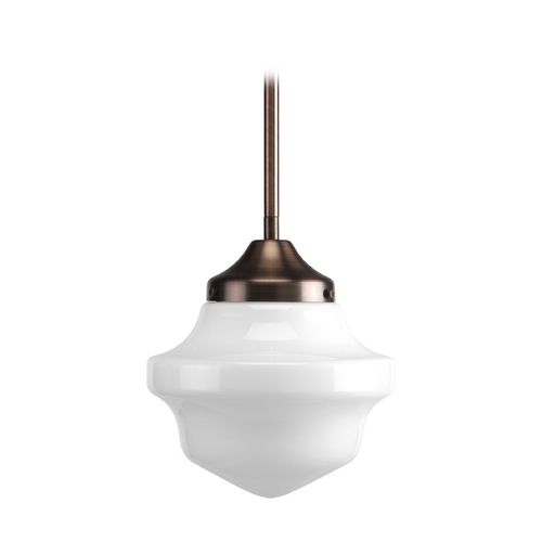 Progress Lighting Progress Schoolhouse Mini-Pendant Light with White Glass P5196-124