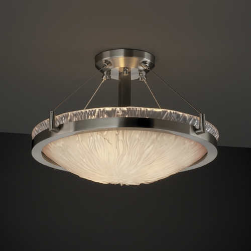 Justice Design Group Justice Design Group Veneto Luce Collection Semi-Flushmount Light GLA-9681-35-WTFR-NCKL