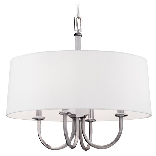 Feiss Lighting Feiss Lighting Pentagram Satin Nickel / Polished Nickel Pendant Light with Drum Shade F3052/4SN/PN