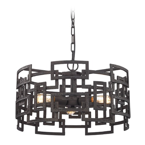 Elk Lighting Elk Lighting Garriston Clay Iron Pendant Light with Drum Shade 14333/3