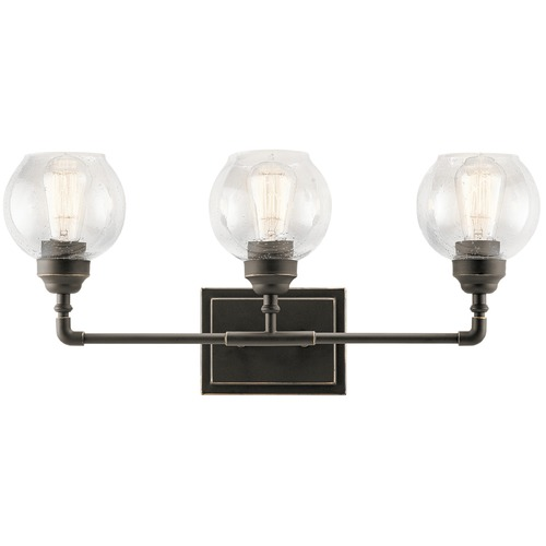 Kichler Lighting Seeded Glass Bathroom Light Bronze Kichler Lighting 45592OZ