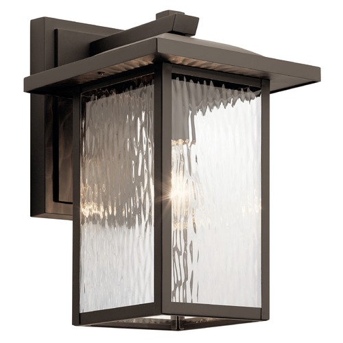 Kichler Lighting Capanna Medium Olde Bronze Outdoor Wall Light with Clear Water Glass 49925OZ