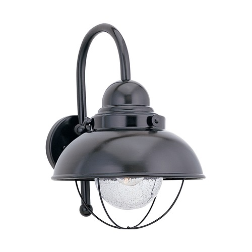 Sea Gull Lighting Outdoor Wall Light with Clear Glass in Black Finish 8871-12