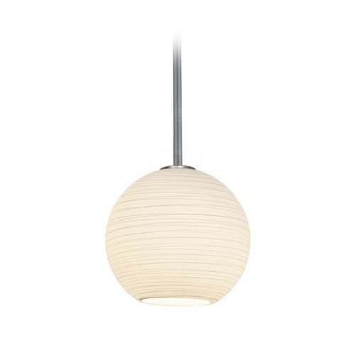 Access Lighting Modern Mini-Pendant Light with White Glass 28087-2R-BS/WHTLN