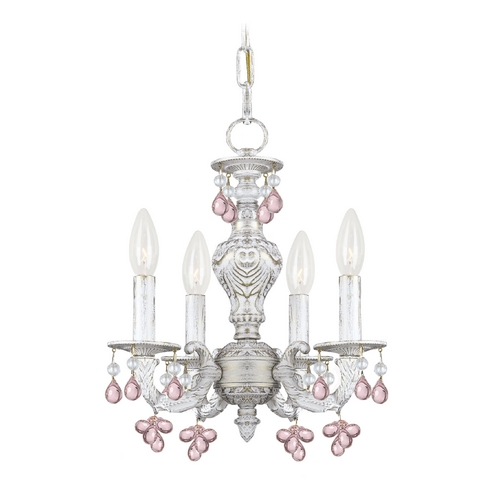 Crystorama Lighting Crystal Mini-Chandelier in Antique White Finish 5224-AW-ROSA