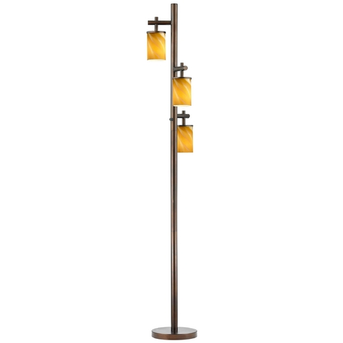 Design Classics Lighting Neuvelle Bronze SODO Floor Lamp with Cylindrical Butterscotch Shades 1118-1-220/ GL1022C