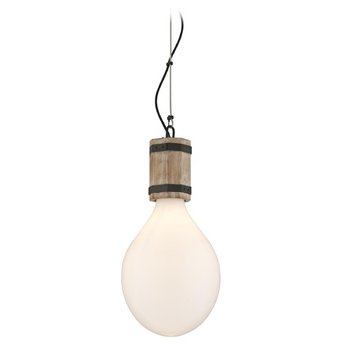 Troy Lighting Troy Lighting Fulton Rusty Iron with Salvaged Wood Pendant Light with Oval Shade F4556