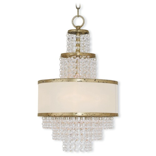 Livex Lighting Livex Lighting Prescott Hand Applied Winter Gold Pendant Light with Drum Shade 50783-28