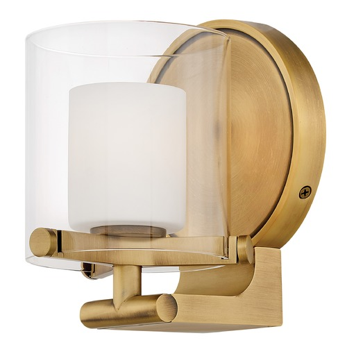 Hinkley Hinkley Rixon Heritage Brass Sconce with Clear Outer Etch Opal Inner Glass 5490HB