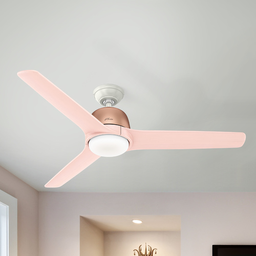 Hunter Fan Company Hunter 54-Inch Satin Copper LED Ceiling Fan with Light with Hand-Held Remote 59425
