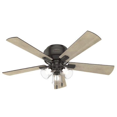 Hunter 52 Contemporary Ceiling Fan 3 Coffee Blades: Hunter 52-Inch Noble Bronze LED Ceiling Fan With Light