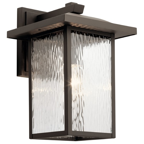 Kichler Lighting Capanna Large Olde Bronze Outdoor Wall Light with Clear Water Glass 49926OZ