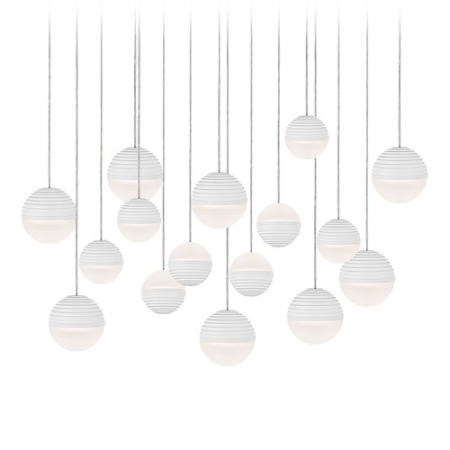 Kuzco Lighting Modern White LED Multi-Light Pendant with Frosted Shade 3000K 6400LM MP10516-WH