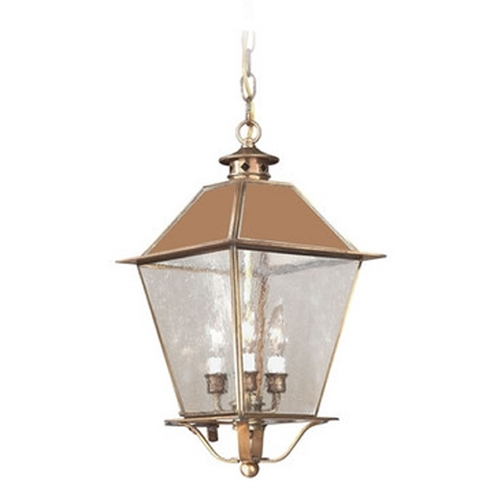 Troy Lighting Outdoor Hanging Light with Clear Glass in Natural Rust Finish F9136NR