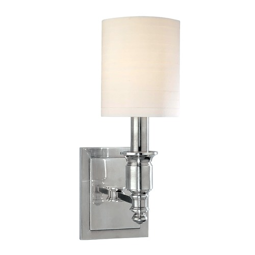 Hudson Valley Lighting Sconce Wall Light with White Shade in Polished Nickel Finish 7501-PN