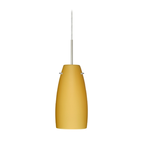 Besa Lighting Modern Pendant Light with Beige / Cream Glass in Satin Nickel Finish 1JT-1512VM-SN