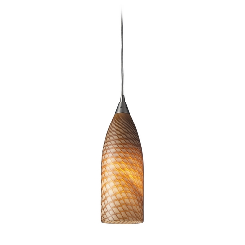 Elk Lighting Modern Mini-Pendant Light with Brown Glass 522-1C
