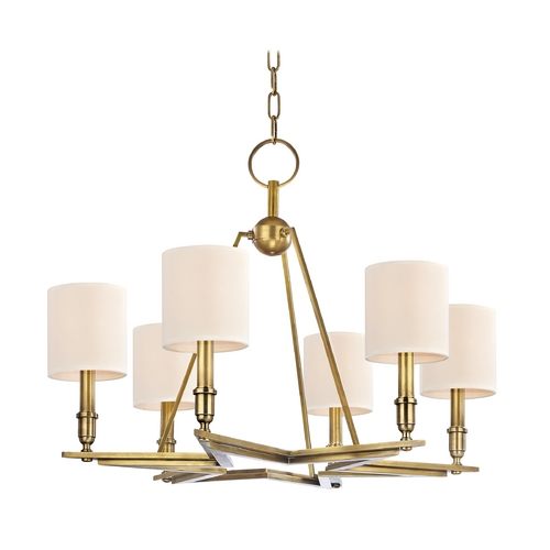 Hudson Valley Lighting Chandelier with Beige / Cream Paper Shades in Aged Brass Finish 4086-AGB