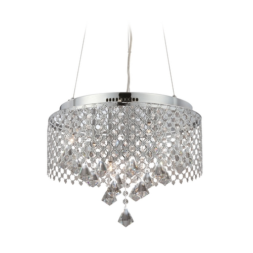 Lite Source Lighting Modern Low Voltage Drum Pendant Light in Chrome Finish LS-19280