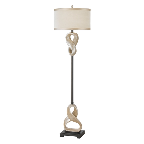 AF Lighting Floor Lamp with Beige / Cream Shade in Antique Silver Finish 8292-FL