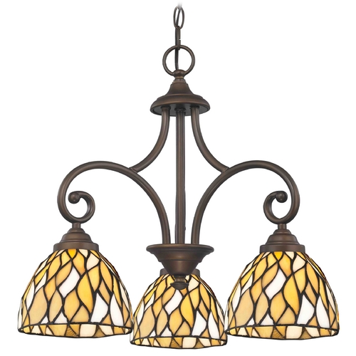 Design Classics Lighting Bronze Mini-Chandelier with Tiffany Glass 716-220 GL1036