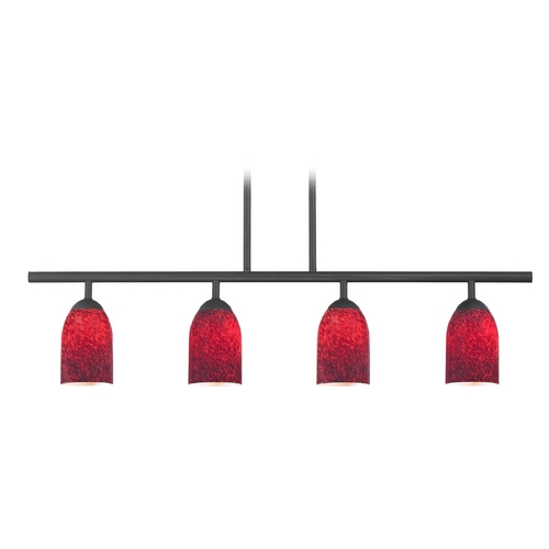 Design Classics Lighting Modern Island Light with Red Glass in Matte Black Finish 718-07 GL1018D